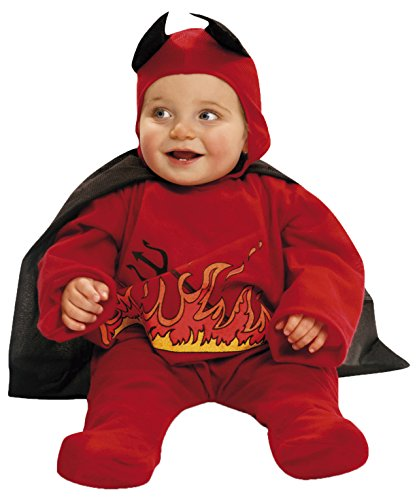 My Other Me Me-203262 Disfraz de diablillo con capa para niño, color rojo, 0-6 meses (Viving Costumes 203262)