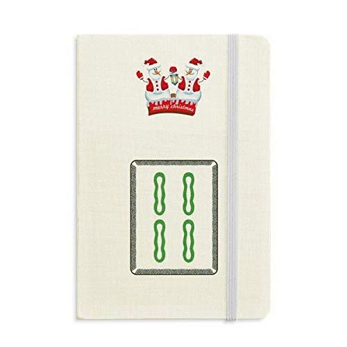 Mahjong Notizbuch, Bambus-Bar, 4 Fliesen, Muster, Weihnachten, Schneemann, dick, Hardcover