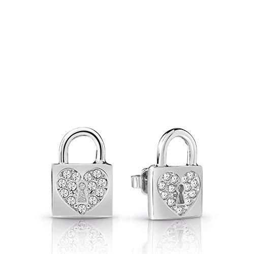 Guess Boucle d'oreille Heart Lock Métal Rhodié UBE85053