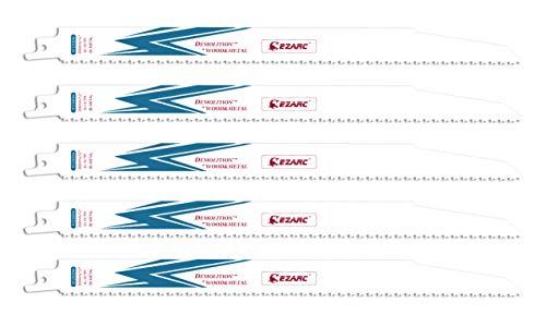 EZARC Hojas de sierra sable Bimetálica Cobalt R1230DM 300mm 10TPI Demolición de Madera y Metal - 5 piezas