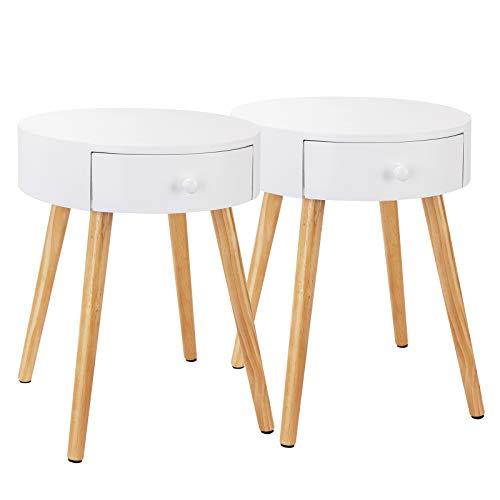 WOLTU Nachttisch 2er Set Nachtkommode Nachtschrank Beistelltisch Sofatisch, mit Schublade, mit Beinen, Holz, MDF, Weiß, 38x38x48cm(BxTxH), TS51ws-2