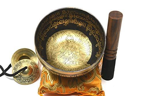 "10"" Healing Meditation Mantra Carved G Note Singing Bowl, Etching Tibetan Art, Hand Hammered Singing Bowls with Silk Cushion, Gong & Mallet Striker"