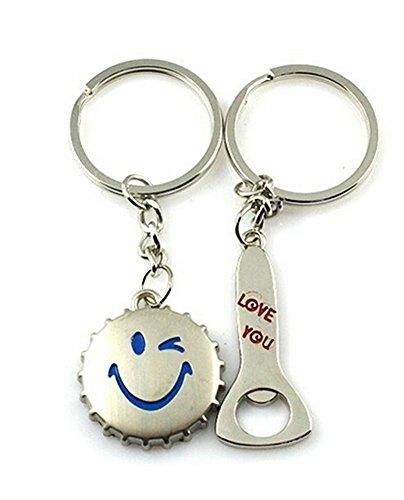 SAMGU Lächeln Love Beer Bottle Caps Decken Flaschenöffner Schlüsselanhänger Lovers Paare Keyfob