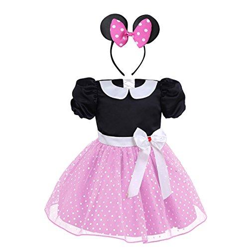 CHICTRY Baby Mädchen Kleidung Set 2tlg. Prinzessin Kostüm mit Ohren Haarreif Polka Dots festlich Party Fasching Karneval Kostüm Gr. 80 86 92 98 104 Rosa 74-80