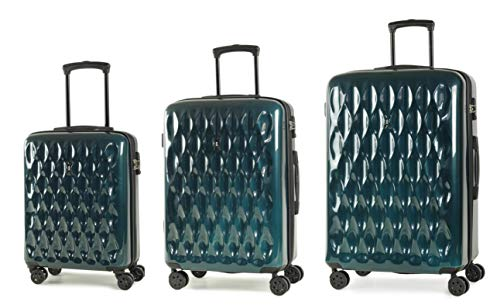 Rock Diamond Set of 3 Hardshell 8 Wheel Spinner Luggage Set Emerald Green
