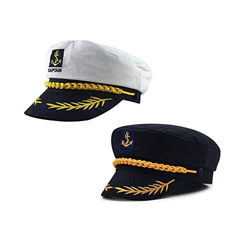 ISKYBOB 2 Piezas Sombrero del Capitán Marinero de Barco Yate Bote Gorra de Almirante Accesorio de Disfraz - Negro + Blanco