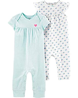 Carter's Baby Girls' 2-Pack Jumpsuits Blue Stripes & Floral (3 Months)