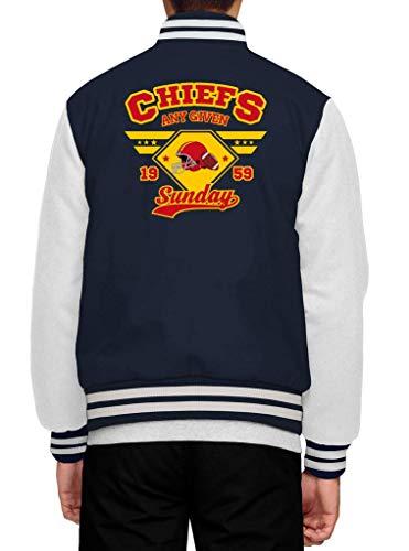 Shirt Happenz Chiefs American Football Any Given Sunday Kansas City Collegejacke Herren Jacke Baseballjacke, Größe:M, Farbe:Dunkelblau Weiß JH043