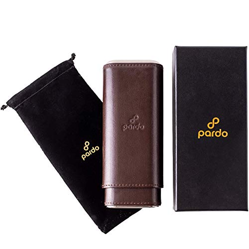Pardo Cigar Case with Spanish Cedar Wood Lining and Polished end Cap Accents, Portable Travel Case with a Midnight Black Carrying Pouch and Gift Box