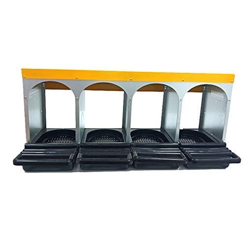Chicken Nesting Boxes 4 Compartments with Rollaway Egg Tray Large Heavy Duty Nest Box for Chicken...