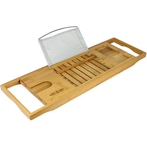 Ausziehbarers Bambus Badewannenbrett | Rutschfeste Füße | Verstellbarer Luxus Home Spa| Weinglas Tablet / Buch Smartphone Halter |M&W