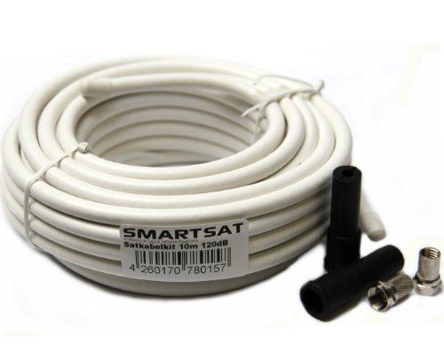 Smartsat SAT-Anschluss-Kit, SAT-Kabel inkl. 2x F-Stecker und 2x Schutztülle, Länge 10 m, HDTV und 3D tauglich, Schirmungsmaß 120dB