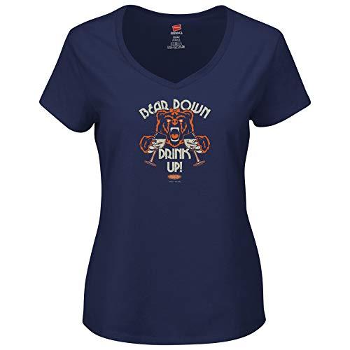Smack Apparel Chicago Football Fans. Bear Down Drink Up Navy Ladies Shirt (Xs-2X) (V-Neck, 2XL)