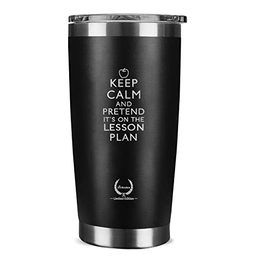 Teacher Gifts for Women-Best Daycare teacher gifts for Her Unique Teacher Gifts for Men Birthday Gifts for Male History Piano Teacher, KEEP CALM,20 oz Wine Tumbler Black