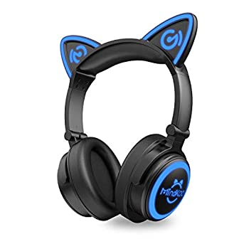 MindKoo Cat Ear Bluetooth Headphones with Microphone LED Light Up Over Ear Headphones Volume Control and Foldable Headset for Tablet/PC/iPad/Cell Phones Gift for Kids Boys & Girls