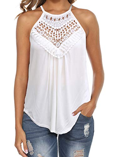Cute Summer Tops for Women Sleeveless Casual Loose Fit Lace Tank Tops White XL