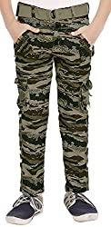 ADBUCKS Boys Stylish Army Print Relaxed Fit Cotton Cargo Pants (Multi Color & Size)