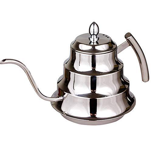 La Tetera De Cuello De Cisne Cocina de Acero Inoxidable, Mano, café, Olla, Cuello de Cisne, cafetera de café, Caja Fuerte for Gas, Cocina eléctrica y de inducción, 1.2 l