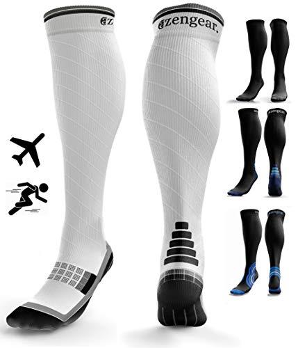 Kompressionsstrümpfe für Herren und Damen (20-30 mmHg) - Kompressionssocken - Krampfadern Socken - Thrombosestrümpfe - Geschwollene Beine - Ödeme - Laufen - Sport - Flug - Reisen - L/XL