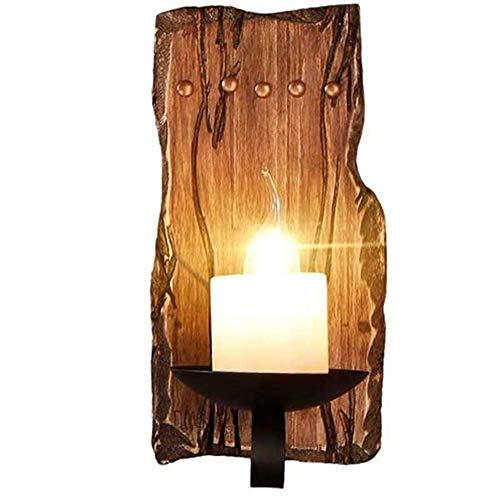 Addsn E14 Wandleuchte Holz Vintage Innen Kerzen Wandlampe mit Eisen Halterung, Schwarz Retro Klassisch Deko Wand Lampe für Treppen Flur Aisle Loft Bar Schlafzimmer,C