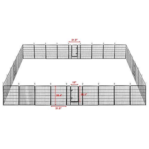 Yaheetech 32'/40''H Foldable Pet Pen - Metal Outdoor Dog Pen Puppy Cat Exercise Fence Barrier Kennel 8/16/24/32 Panels 32 Panels/40