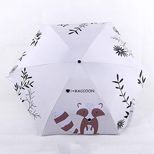 DJMJHG Patrón de mapache 5-plegable lluvia mini paraguas de bolsillo para las mujeres Anti-uv pequeño paraguas paraguas YD200320WH