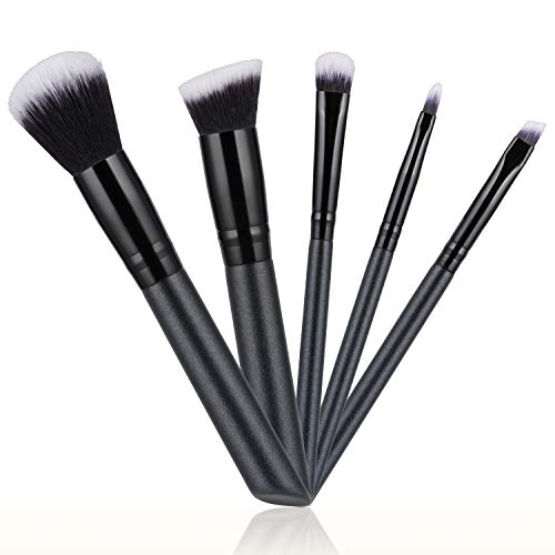 Updated 2020 Version Makeup Brushes Set 5pcs Makeup Brushes Cosmetic Foundation Powder Concealers Eye shadows Lip Make up Tools Easy to Carry  Black