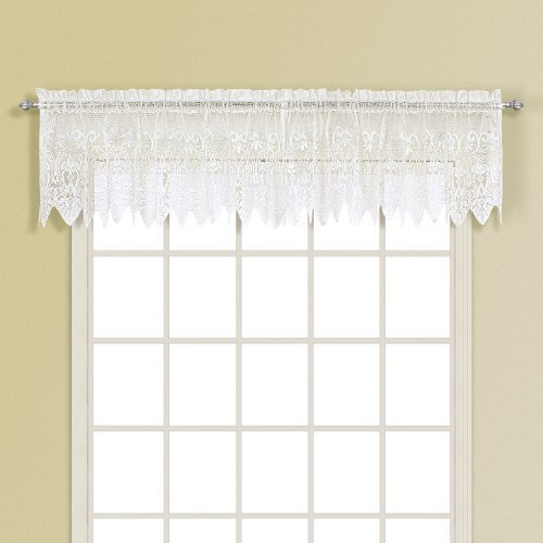 United Curtain Valerie Lace Sheer Straight Valance, 52 by 15-Inch, White by United Curtain