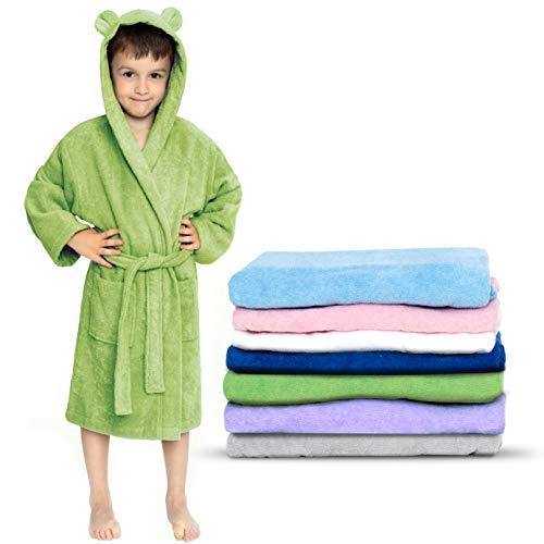Twinzen - Albornoz Niños Algodón - Niño y Niña - 100% Algodón OEKO-TEX® - Bata de Baño 2 Bolsillos, Cinturón y Capucha, Verde, 3-4 años, (size2)