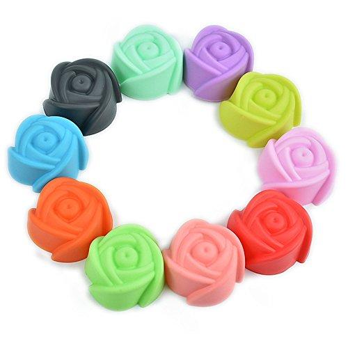 10Pcs Rose forma de silicona muffin casos Cupcake Liner hornear moldes de chocolate moldes de jabón Moldes