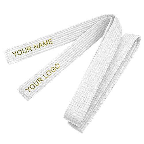 TOPTIE Cinturones de Grado de Algodón de Judo Personalizados, Cinturón de Artes Marciales, Cinturón de Taekwondo de Judo de Karate-Bianca-Taglia 3
