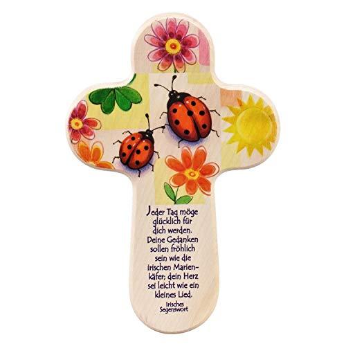 Taufkreuz/Holzkreuz für Kinder mit Marienkäfer. EIN Wandkreuz zur Taufe als Taufgeschenk. Kreuz (Baby, Taufkind) mit Taufspruch und Marienkäfer