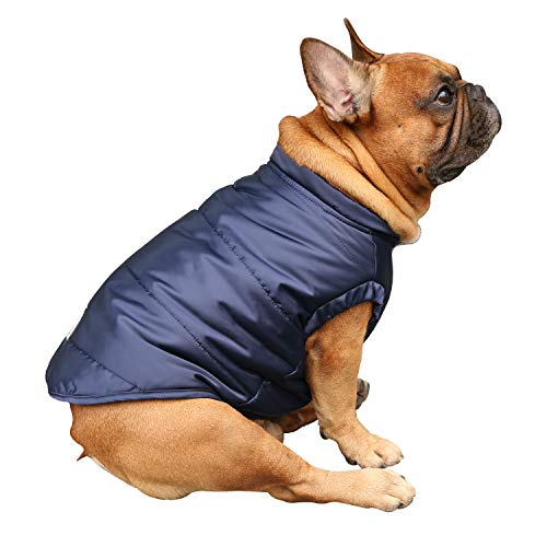 iChoue Dog Cotton Padded Coat Thick Winter Warm Vest Waistcoat Cold Weather Jacket Clothing for English Bulldog Bully Pitbull- Blue L+