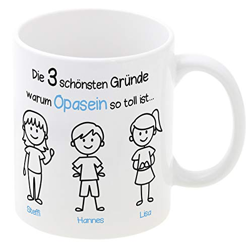 Tasse Opasein (1 Junge, 2 Mädchen): individueller Kaffeebecher mit Personalisierung, persönliches Geschenk für Opa, Geburtstagsgeschenk, Becher mit Namen Bedruckt
