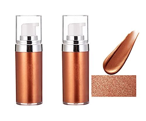 Liquid Highlighter Body Shimmer,Makeup Highlighter,Body Luminizer,Waterproof Body Bronzer Spray Face Body Makeup Shimmer Foundation For Women Glow Smooth Liquid Illuminator (Golden Brown(2PCS))