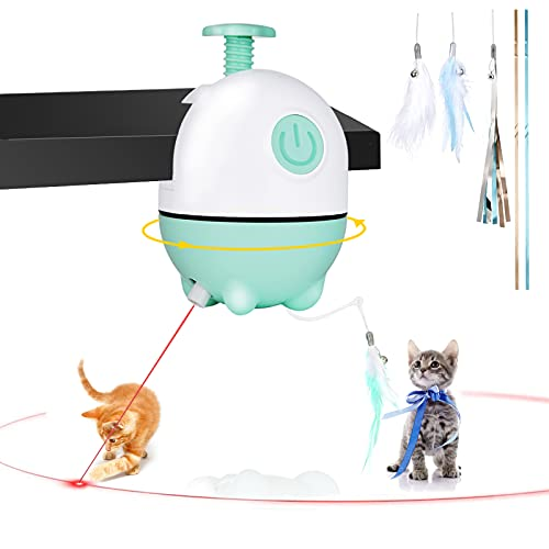 APPLYSU Interactive Cat Toys, 2 in 1 Cats Laser & Feather Toys, Rechargeable Automatic Cat Toys for Indoor Cats Kitten Play Chase Exercise, 2PCS Feather Replacement and 3PCS Bell Ribbon (Green)