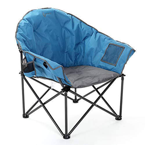 ARROWHEAD OUTDOOR Oversized Heavy-Duty Club Folding Camping Chair w/External Pocket, Cup Holder, Portable, Padded, Moon, Round, Saucer, Supports 330lbs, Carrying Bag, USA-Based Support (Blue)