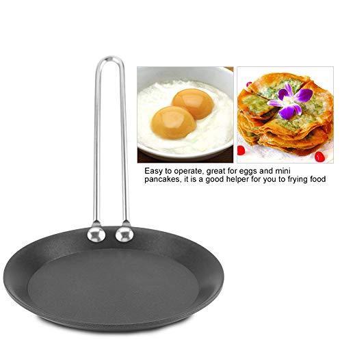 Sartén Antiadherente, Lindo Mini sartén para cocinar Huevos con Mango, sartén para el hogar, pequeña Cocina de Wok, para Estufas eléctricas de Gas, cocinas de inducción(Mango de Acero)
