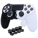 HLRAO Funda de silicona para mando de PS4 / Slim / Pro + 8 agarres para pulgar, color blanco y negro
