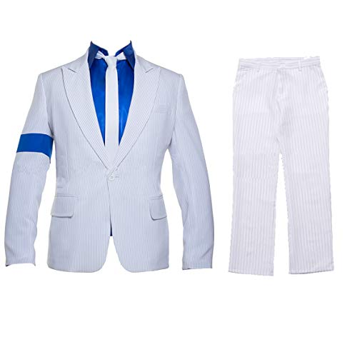 Shuang Hao Classical Smooth Criminal Costume Blue Armband Suit Cosplay Michael Jackson Costume for Kid and Adult (Kid XL:165cm/65inch, White)