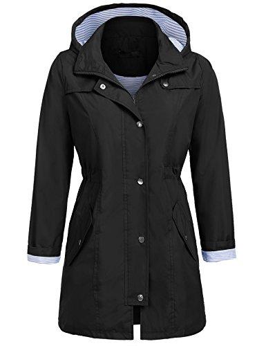 UNibelle Raincoat Women Waterproof with Hood Lightweight Active Outdoor Rain Jacket Windbreaker (Black, L)