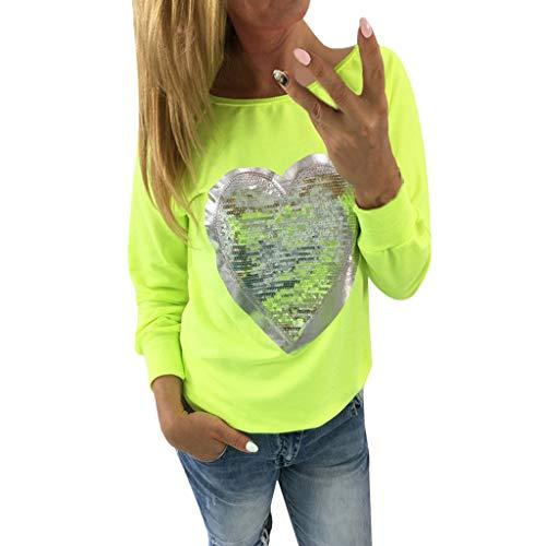 BHYDRY Para Mujer del corazón de Las Lentejuelas O Cuello Blusa de Manga Larga Top de Damas Blusa Camiseta