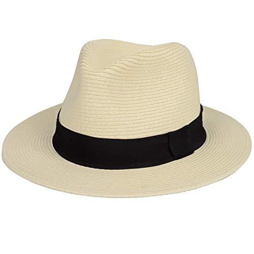 Maylisacc Sombrero Fedora Paja Hombre Respirable, Sombrero Panama Playa Verano Plegable Sombrero para el Sol de ala Ancha Ajustable Protección Solar, Beige