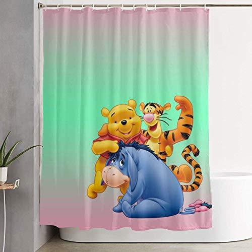 Sabalone Duschvorhang Winnie Pooh Kunstdruck, Polyester Bad Dekorationen Kollektion mit Haken 60X72 Zoll