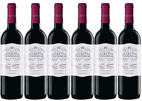 Cuatro Rayas Vino Tinto Tempranillo Crianza D.O Rioja 6 Botellas de 750 ml - Total: 4500 ml