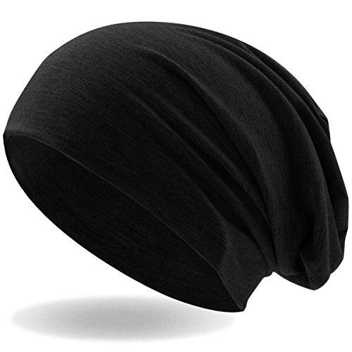 Hatstar Klassische Jersey Slouch Long Beanie Mütze, leicht und weich, Reversible Bicolor für Damen und Herren Wintermütze, black, Einheitsgröße