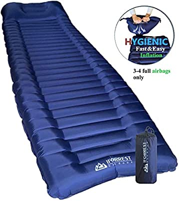 """IFORREST Sleeping Pad with Armrest & Pillow - Rollover Protection - 4"""" Extra Thick Camping and Hiking Mats - Ultra-Comfortable Air Mattress - Ideal for Cot, Tent and Hammock"""