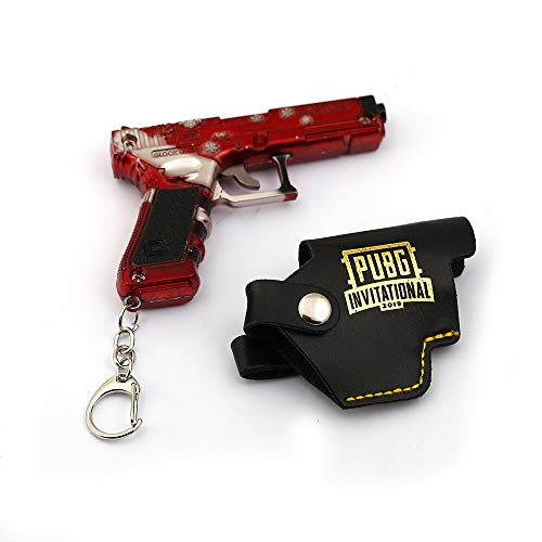 Pubg Keychain Car Metal Gun Model Key Holder Leather Case Weapon Pendant Key Rings Men Jewelry