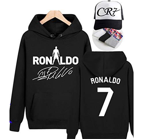 WYNBB Sweatshirt Kapuzenpulli C Ronaldo 7 CR7 Pullover Fleece Fußballverein Fan Hoody Geschenk für Fußballfans Liga Kapitän Herren Frühling Herbst,BLACK5,S