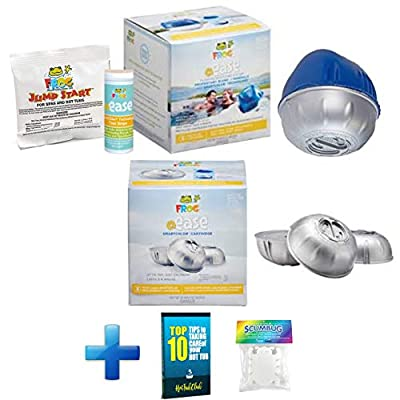 HotTubClub @Ease Floating Sanitizing System, Hot Tub Accessories - Bundled with @Ease Smart Chlor 3pk Refill Kit, Floating ScumBug & Hot Tub Care e-Book (9 Items)